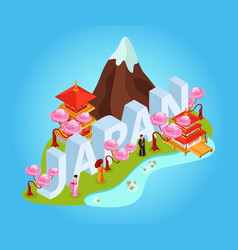 japan isometric composition vector image