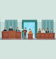 judicial process public hearing and criminal vector image