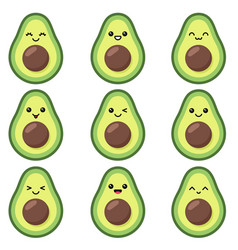 Kawaii cute avocado set with emotions isolated vector