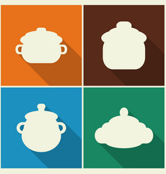 kitchen utensils and cookware flat icons set vector image