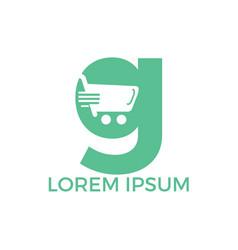 Letter g shopping logo design vector