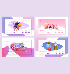 love couple travel in park landing page set vector image