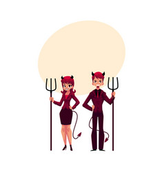 Man and woman dressed as devils in business suits vector