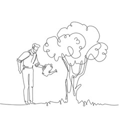 Man watering tree - one continuous line design vector