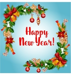 New Year holiday garland frame vector