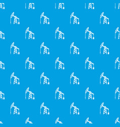 oil rig pattern seamless blue vector image