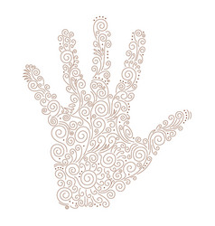 Ornament henna on palm vector