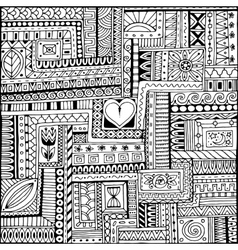 Ornamental ethnic black and white pattern vector