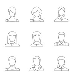 Physiognomy face icons set outline style vector