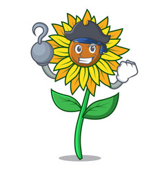 Pirate sunflower character cartoon style vector