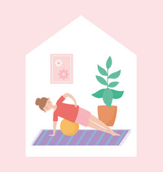Quarantine stay at home woman practicing vector