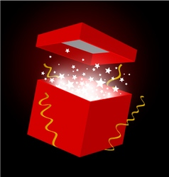 Red gift box on black background vector