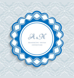 round label with wavy border ornament vector image