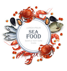 Sea food card realistic round frame with vector