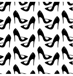 Seamless pattern made from doodle stilettos shoes vector