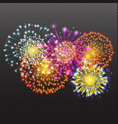 Set festive firework salute burst on transparent vector