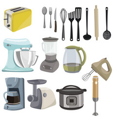 set kitchen utensils collection appliances vector image