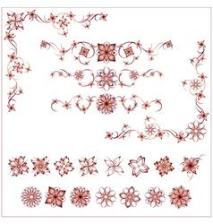 Set of floral vintage design elements vector image