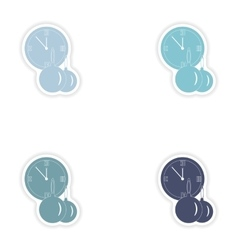 Set of paper stickers on white background clock vector