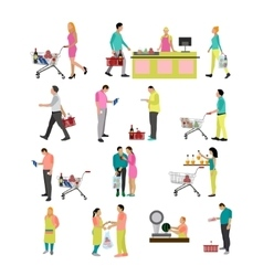 set of people buying food in grocery store vector image