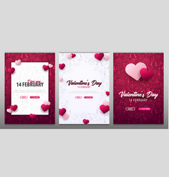 set of valentines day banners with doodle vector image