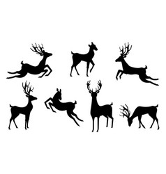 set silhouettes deers isolated jumping vector image