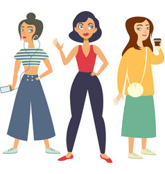set trendy girls hipsters vector image