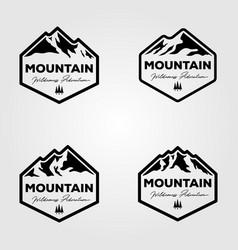 set vintage mountain adventure outdoor logo vector image