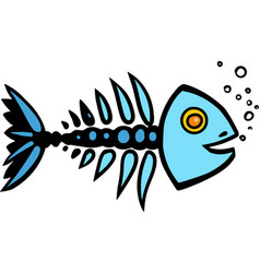 skeleton of fish vector image