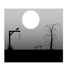 spooky background cemetery and gallows vector image