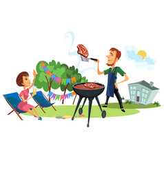 Summer backyard and couple on barbeque poster vector
