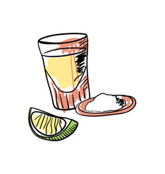 Tequila shot with lime hand drawn icon vector