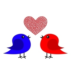 Two birds and heart vector