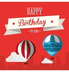 vintage card happy birthday airballoons clouds vector image