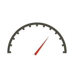 White speedometer icon flat style vector image