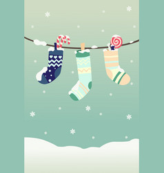 Winter christmas stockings vector