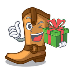 with gift old cowboy boots in shape character vector image