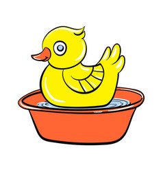 yellow duck toy icon cartoon style vector image