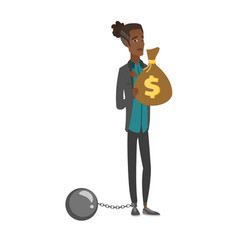 Young african businessman with bag full of taxes vector
