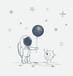 astronaut gives a balloon to alien vector image vector image