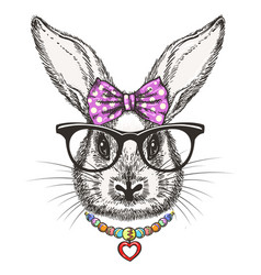 fashion bunny girl with bow and vector image vector image
