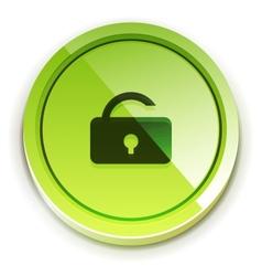 glossy bright unlock button vector image