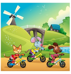 Pets are going for a ride in the countryside vector image vector image