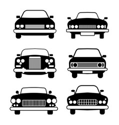 set of different car symbols front view vector image