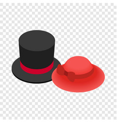 Top hat with red ribbon and red female hat icon vector