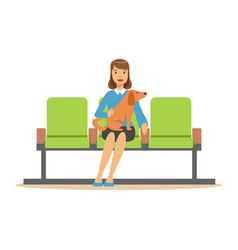 woman sitting in waiting hall with her pet dog and vector image