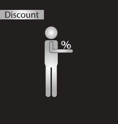 black and white style icon human discounts percent vector image