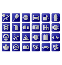 car icons set blue and white vector image