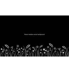 Flower meadow line border isolated on black vector image