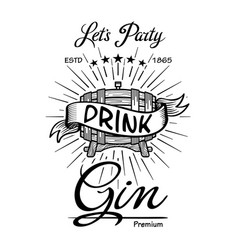 gin label vintage hand drawn border typography vector image